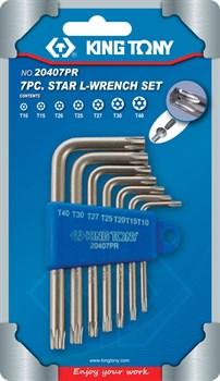Набор Г-образных TORX, T10-T40, с отверстием, 7 предметов KING TONY 20407PR - фото 11219