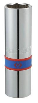 """Головка свечная шестигранная 1/2"""", 16 мм, L = 70 мм, резиновый фиксатор KING TONY 463516R - фото 11592"""