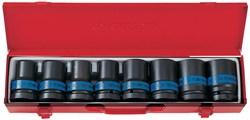 """Набор ударных торцевых головок 1"""", шестигранные, тонкостенные, 17-41 мм, 8 предметов KING TONY 8408MP - фото 11653"""