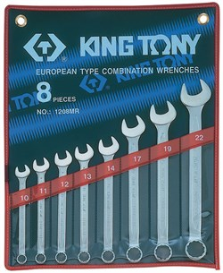 Набор комбинированных ключей, 10-22 мм, 8 предметов KING TONY 1208MR - фото 13994