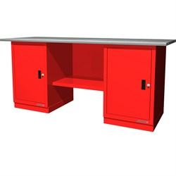 Верстак слесарный, двухтумбовый, оцинкованная столешница, красный  FERRUM 01.200G-3000 - фото 14673