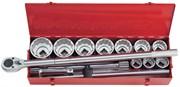 """Набор торцевых головок с принадлежностями 1"""", двенадцатигранные, 36-80 мм, 14 предметов KING TONY 8015MR"""