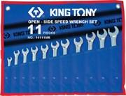 Набор комбинированных трещоточных ключей, 8-19 мм, чехол из теторона, 11 предметов KING TONY 14111MRN