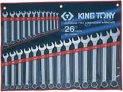 Набор комбинированных ключей, 6-32 мм, 26 предметов KING TONY 1226MR