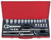 """Набор торцевых головок с принадлежностями 1/2"""", шестигранные, 10-32 мм, 24 предмета KING TONY 4325MR"""