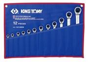 Набор комбинированных трещоточных ключей, 8-24 мм, чехол из теторона, 12 предметов KING TONY 12212MRN
