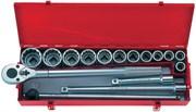 """Набор торцевых головок с принадлежностями 3/4"""", двенадцатигранные, 21-50 мм, 16 предметов KING TONY 6016MR"""