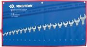 Набор комбинированных ключей, 6-24 мм чехол из теторона, 18 предметов KING TONY 1218MRN