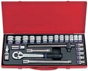 """Набор торцевых головок с принадлежностями 1/2"""", шестигранные, 10-32 мм, 24 предмета KING TONY 4528MR"""