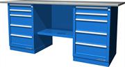Верстак слесарный, двухтумбовый, оцинкованная столешница, синий  FERRUM 01.255G-5015