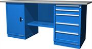 Верстак слесарный, двухтумбовый, оцинкованная столешница, синий  FERRUM 01.205G-5015