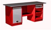 Верстак слесарный, двухтумбовый, оцинкованная столешница, красный  FERRUM 01.211G-3000