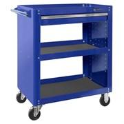 Тележка открытая, 3 полки и ящик, синяя МАСТАК 520-01580B