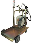 Тележка с пневматическим насосом 3:1 для раздачи масла из бочек 180/220 л (с электронным расходомером и катушкой со шлангом 15 м)