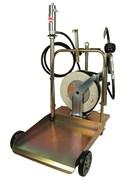 Тележка с пневматическим насосом 5:1 для раздачи масла из бочек 180/220 л (с электронным расходомером и катушкой со шлангом 15 м)