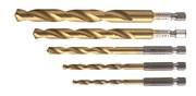 HOEGERT Набор сверл  по металлу с шестигранным хвостовиком 1/4'', набор 4, 5, 6, 8, 10 мм, сталь HSS