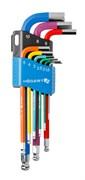 HOEGERT Набор шестигранных ключей удлиненных, Г-образных с шаровым наконечником и цветовой маркировкой 1,5-10 мм. CrV, 9 шт.