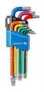 HOEGERT Набор Г-образных удлиненных ключей TORX с цветной маркировкой, Т10-Т50, 9 шт.