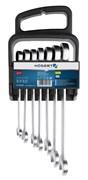 HOEGERT Набор комбинированных трещоточных ключей, 10-19 мм, 7 шт., 72T, сталь CrV 6140