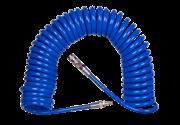 KING TONY Шланг пневматический спиральный высокого давления 8х12 мм, 10 м, полиуретановый, фитинги