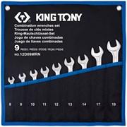 KING TONY Набор комбинированных ключей, 8-19 мм, чехол из теторона, 9 предметов