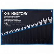 KING TONY Набор комбинированных ключей, 10-32 мм, чехол из теторона, 15 предметов